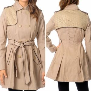 Betsey Johnson Tan Double Breasted Trench Coat